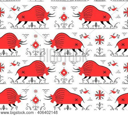 Isolated Vector Seamless Pattern. Stylized Russian Folklore.