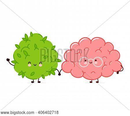 Cute Funny Marijuana Weed Bud And Brain Organ Character. Vector Flat Line Cartoon Kawaii Character I