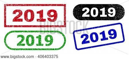 2019 Grunge Watermarks. Flat Vector Scratched Watermarks With 2019 Title Inside Different Rectangle