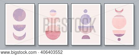 Mid-century Modern Design. A Trendy Set Of Abstract Pink Hand Painted Illustrations For Postcard, So