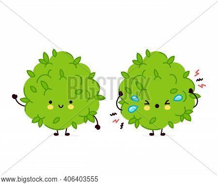 Cute Funny And Sad Marijuana Weed Bud Character. Vector Flat Line Cartoon Kawaii Character Illustrat