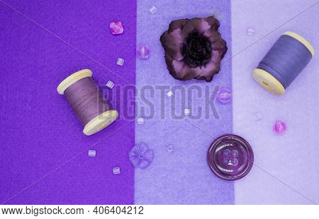 Purple Flat Lay: Against The Background Of Three Shades Of Purple Are A Dark, Almost Black Rose Flow