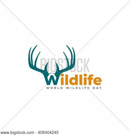 Typography Of Wildlife With Deer Antlers Design. Good Template For World Wildlife Day Design.