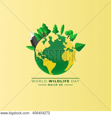 World Wildlife Day Design With Green Earth Vector Illustration. Good Template For Wildlife Day Or En