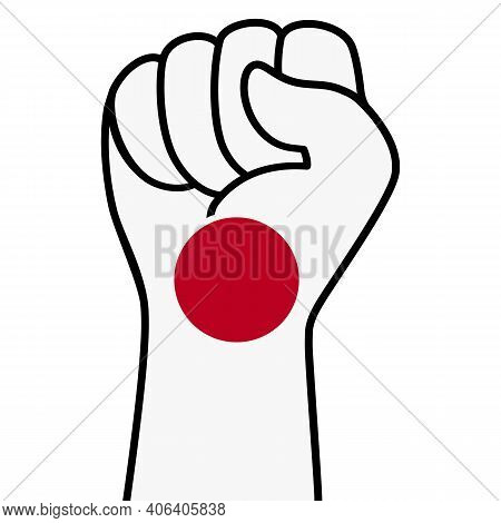 Raised Fist Japan Flag. The Hand Of Japan. Fist Shape Japanese Flag Color. Patriotic Demonstration,