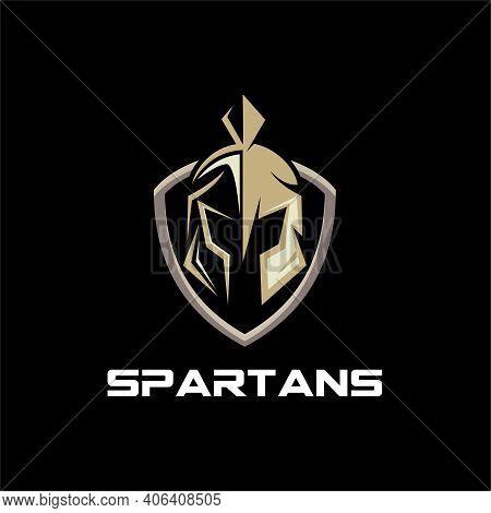 Shield And Helmet Of The Spartan Warrior Symbol, Emblem. Spartan Helmet Logo, Vector Illustration Of