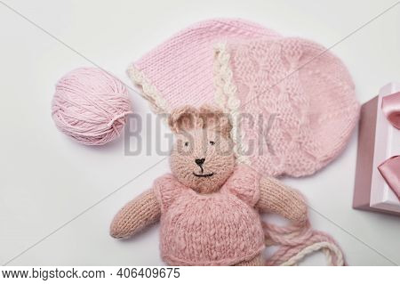 Needlework And Knitting. Hobbies And Creativity. Knit For Children. Knitted Toys Rabbit And Hat. Han