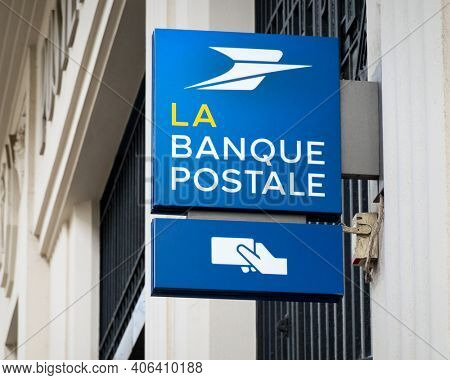 BAYONNE, FRANCE - CIRCA JFEBRUARY 2021: La Banque Postale sign. La Banque Postale is a French bank created on 1 January 2006.