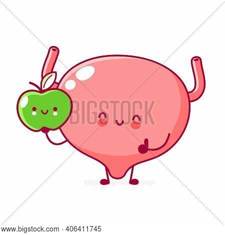 Cute Happy Funny Human Bladder Organ With Apple Character. Vector Flat Line Cartoon Kawaii Character