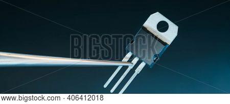 power transistors on a blue background
