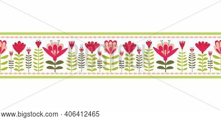 Floating Floral Foliage Folk Style Vector Seamless Pattern Border. Stylized Spring Garden Flower Mot