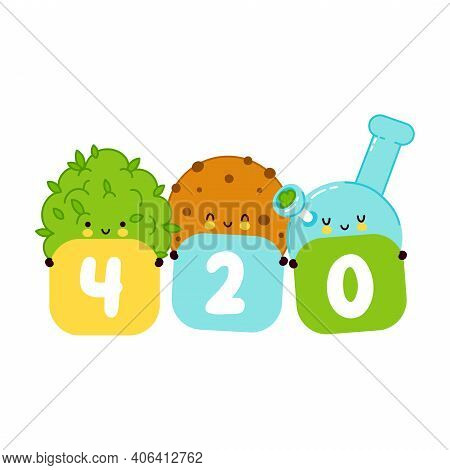 Cute Smiling Happy Cookie, Weed Bud And Bong. 420 Card, Poster. Vector Flat Cartoon Character Illust