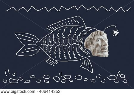 Primitive Drawing Collage With Bearded Man Face And Fish Body. Modern Naive Art With Human Head And