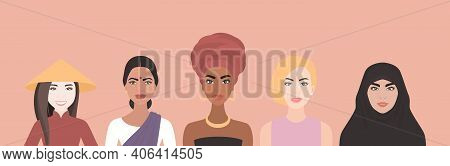 Five Women Of Multi-ethnic, Different Nationalities, Cultures Standing Together. African, Asian, Eur