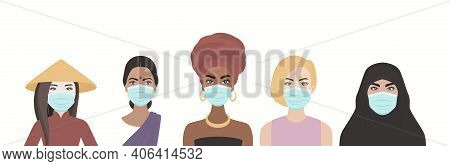 Five Masked Women Of Multi-ethnic, Different Nationalities Cultures Standing Together. African, Asia