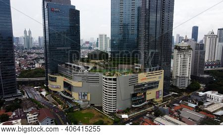 Aerial View Of Lotte Shopping Avenue Building In Jakarta And Noise Cloud With Cityscape. The Largest