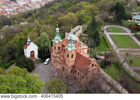 Prague, Czech - April 24, 2012: This Is The Cathedral Of St. Lawrence On Petrin, Built In The Czech
