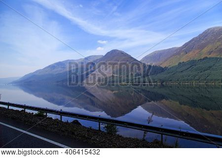 Scotland, Great Britain - September 12, 2014: This Is Loch Lochy Lake In The Glen More Valley On An