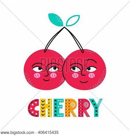 Cute Happy Smile Cherry Fruit. Vector Simple Flat Cartoon Scandinavian Character Hand Drawn Illustra