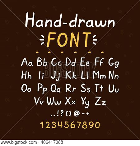 Hand Drawn Style Brush Font. Abc Big And Small Letters Set Collection. Vector Doodle Style Font Illu
