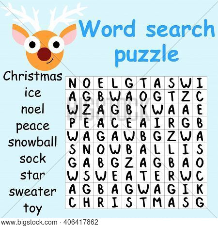Reindeer Word Search Puzzle Stock Vector Illustration. Help The Deer To Find And Mark All Hidden Wor