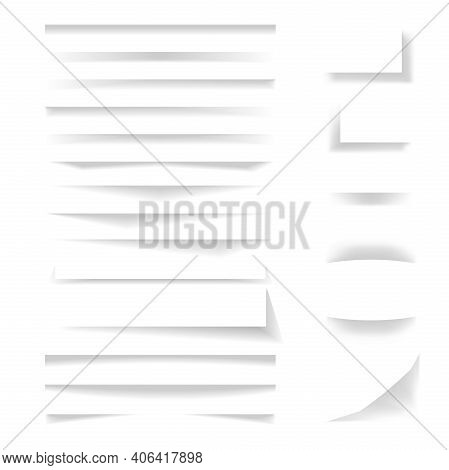 Collection Of Shadow Dividers, Paper Shadow Effect. Vector Transparent Overlay Shadows For Elements