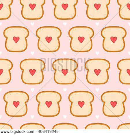 Cute Bread Toast With Heart Seamless Pattern. Vector Flat Cartoon Kawaii Character Illustration Icon