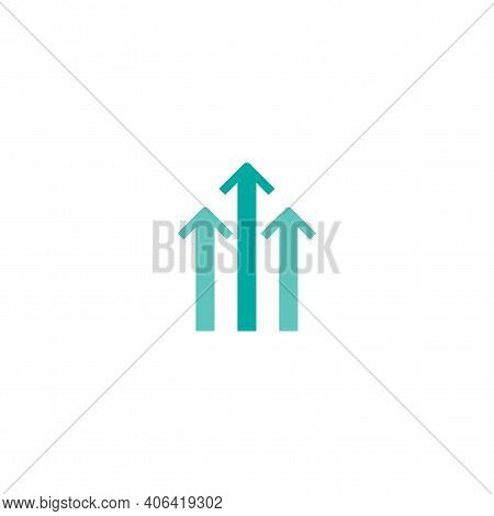 Three Blue Arrows Up Icon. Isolated On White. Upload Icon. Upgrade Sign. Growth Symbol. North Pointi