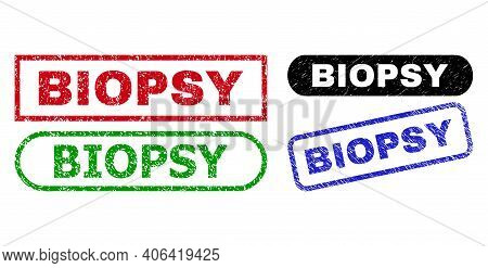 Biopsy Grunge Watermarks. Flat Vector Scratched Watermarks With Biopsy Caption Inside Different Rect