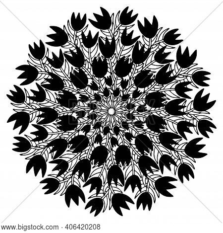Black Tulips Mandala Print Stock Vector Illustration. Lovely Spring Blossom Tulips Flowers Ornamenta