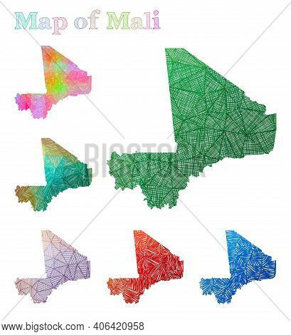 Hand-drawn Map Of Mali. Colorful Country Shape. Sketchy Mali Maps Collection. Vector Illustration.