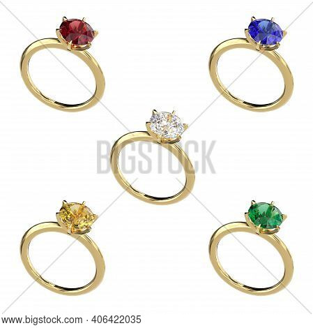 Set Of Gold Rings With Diamond, Ruby, Emerald, Sapphire. Classic Jewelry Design. Objects On A White