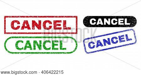 Cancel Grunge Stamps. Flat Vector Scratched Stamps With Cancel Caption Inside Different Rectangle An