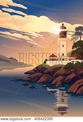 Lighthouse - Vector Landscape. Sea Landscape With Beacon On The Beach On Sunset. Vector Illustration