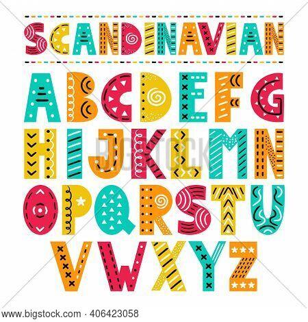 Abc Scandinavian Style Alphabet. Vector Simple Flat Cartoon Illustration Icon. Isolated On White Bac