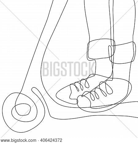 Continuous Line Drawing. A Close Up Of Feet On A Scooter. Vector Urban Illustration.