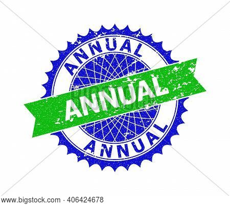 Vector Annual Bicolor Stamp Seal With Distress Style. Blue And Green Colors. Flat Seal Stamp With An