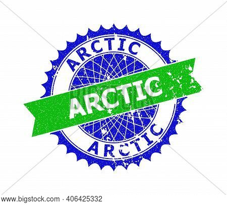 Vector Arctic Bicolor Stamp Seal With Rough Texture. Blue And Green Colors. Flat Seal Stamp With Arc