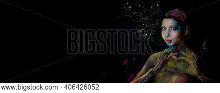 Banner With Beautiful Model With Holi Colorful Powder Art Makeup And Heart Shaped Hands On Black Stu