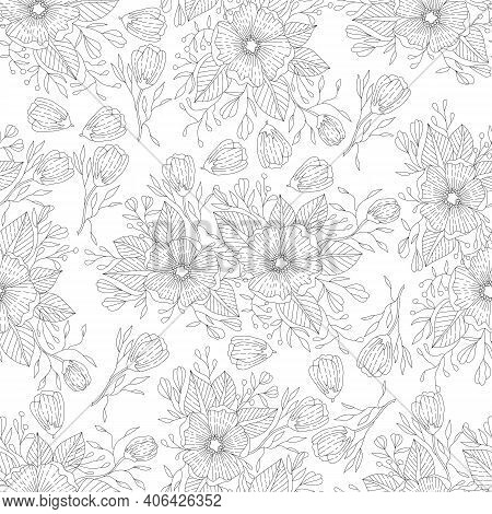 Monochrome Doodle Flower Seamless Pattern For Adult Coloring Book. Black And White Floral Outline. V