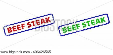 Vector Beef Steak Framed Watermarks With Unclean Texture. Rough Bicolor Rectangle Watermarks. Red, B