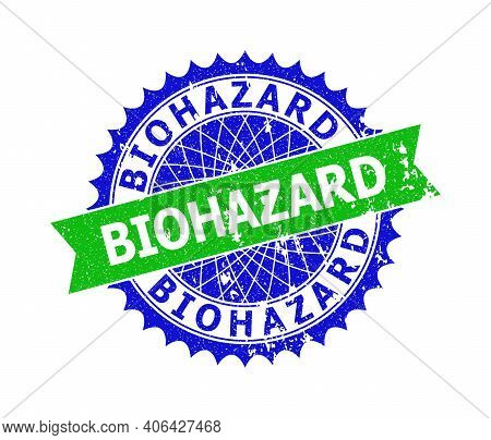 Vector Biohazard Bicolor Stamp Seal With Grunge Style. Blue And Green Colors. Flat Seal Stamp With B