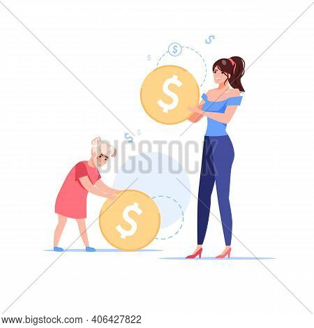 Vector Cartoon Flat Happy Family Characters Holding Gold Coins.mom And Daughter Saving Money-home Bu