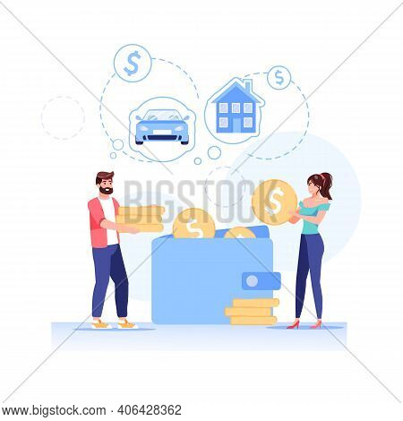 Vector Cartoon Flat Happy Family Characters Put Gold Coins In Wallet.young People Makes Home Budget
