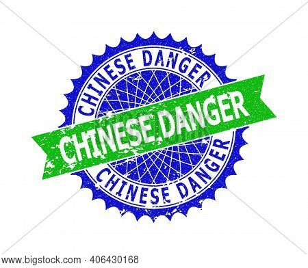 Vector Chinese Danger Bicolor Stamp Seal With Distress Texture. Blue And Green Colors. Flat Seal Sta