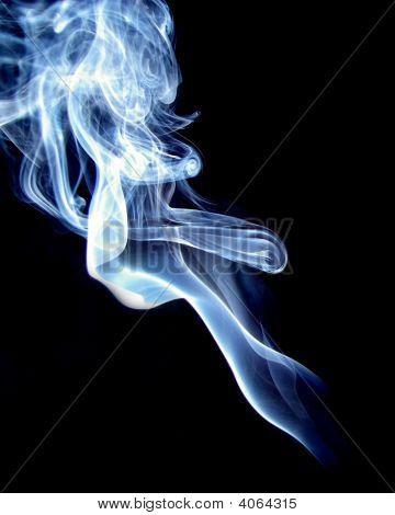 Blue And White Smoke On Black Back Ground