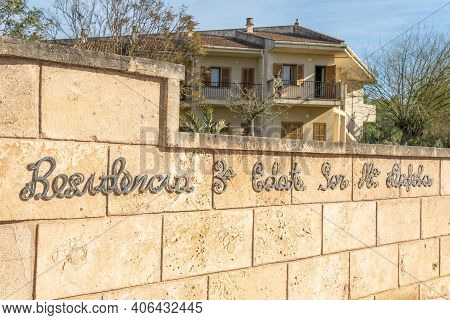 Campos, Spain; January 29 2021: Main Entrance And Metal Sign Of The