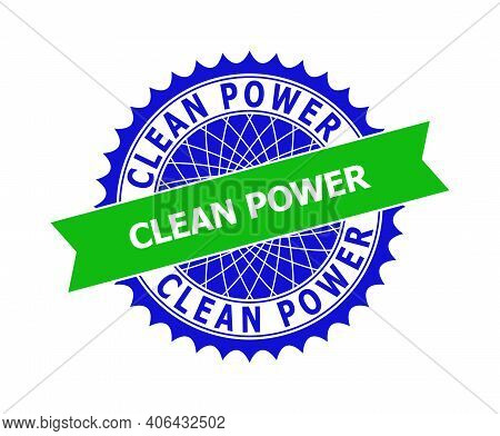 Vector Clean Power Bicolor Template For Watermarks With Clean Surface. Flat Clean Seal Template With