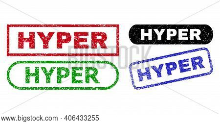 Hyper Grunge Seal Stamps. Flat Vector Grunge Seal Stamps With Hyper Text Inside Different Rectangle