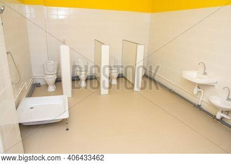 Toilet In Kindergarten. Toilet In Kindergarten. Children's Hygiene In A Preschool Institution.